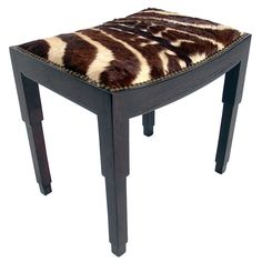 Modernist Zebra Hide Stool after Pierre Chareau circa 1930's | From a unique collection of antique and modern stools at http://www.1stdibs.com/furniture/seating/stools/