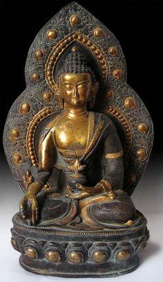 19th Century Tibetan Parcel Gilded Bronze Medicine Buddha