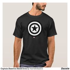 Captain America Shield Icon T-Shirt. Personalize these Classic Marvel character designs and make perfect gifts for any fans. #marvel #comic #gifts #birthday #birthdayparty #birthdaycard #personalize #kids #shopping