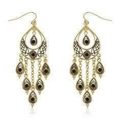Black Crystal Peacock Earrings