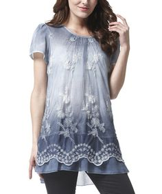 Another great find on #zulily! Blue Floral Lace Tunic #zulilyfinds I like the length, and it looks very comfortable.  The softer color is pretty too.
