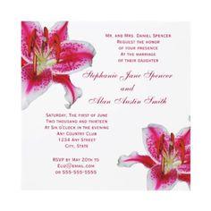 Pink Lily wedding invitation