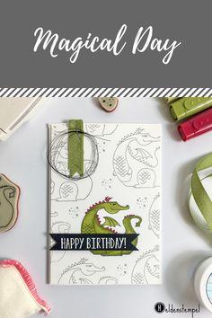 Karte mit dem Stampin' Up! Set Zauberhafter Tag; Koloriert mit den Stampin' Blends; Drache Myths & Magic Dragon Embossing Clean and Simple Magical Day Geburtstagskarte Birthday Card
