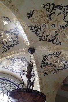 Stunning stenciled groin ceiling by Deborah Schmersal Kelly using Ornamental Modello® Designs vinyl stencils and a beautiful color scheme.  Center Stencil (OrnCen190) and Border Stencil (OrnBor129).