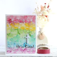 Yes! He is Risen!! My Easter card with @simonsaysstamp Artful Flowers and Rejoice stamp set. #simonsaysstamp #watercolor #watercolouring #easter #heisrisen #flowers #papercrafts #cardmaking #stamping #stamp #handmade #card #handmadecard #핸드메이드 #카드 #스탬핑 #플라워 #부활절카드 #부활절