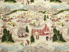Grandma Moses Deep Snow Vintage Barkcloth  2 by ChenilleBliss, $37.50