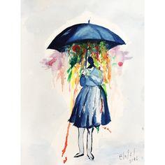 Raining #painting #watercolor #watercolorpainting #pregnanthobby #pregnantactivity
