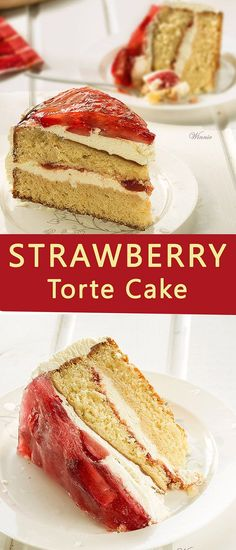 Easy and wonderful torte cake with whipped-cream, fresh strawberry and jello