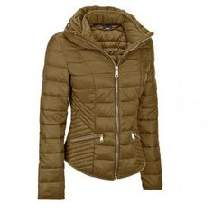 This cozy jacket will keep you warm on any winter day. Features a funnel collar and decorative zipper with a tapered fit and decorative zipper. Prestige Clothing, Quilted Jacket Outfit, Beautiful Outfits, Cool Outfits, Coats For Women, Jackets For Women, Best Leather Jackets, Puffy Jacket, Shearling Coat