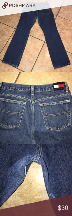 Tommy Hilfiger High Waisted Mom Jeans Size 9 Tommy Hilfiger High Waisted Mom Jeans Size 9 on tag Inseam approx 30 inches waist approx 13.5 inches flat small spot on back near middle seam as shown in picture Tommy Hilfiger Jeans