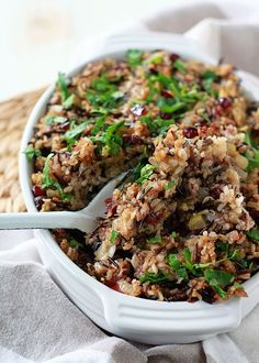 Hunting for healthy stuffing? Try this Herbed Wild Rice + Quinoa Stuffing.