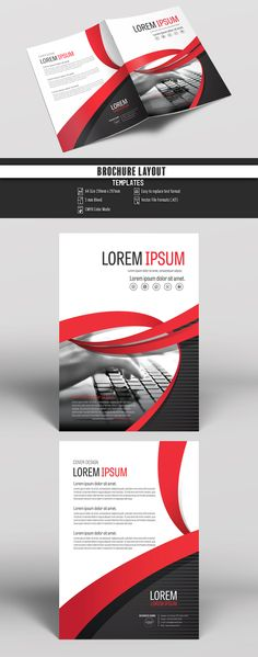 Business Brochure Cover Layout with Red Accents. Buy this stock template and explore similar templates at Adobe Stock