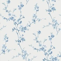 Cherry Blossom Light Blue Trail Wallpaper