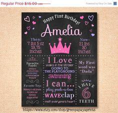 Princess themed birthday party chalkboard. First birthday chalkboard. Decoration. Printable.