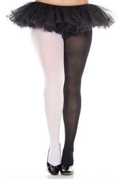 e9c9ce4db0d99 Music Legs Plus Size Multicolored Opaque Jester Tights 748Q-BLACK/WHITE