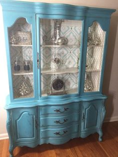 Haus Vintage French Provincial China Hutch-SOLD Let me find and create a similar piece What Does a H China Cabinet Makeovers, China Cabinet Redo, Painted China Cabinets, Painted Hutch, China Hutch Makeover, China Cabinet Display, Dresser Makeovers, Refurbished Furniture, Paint Furniture