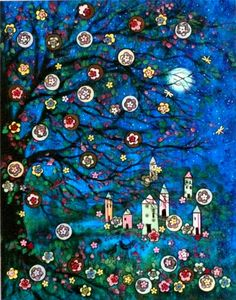 "reminds me of christmas ornaments. ""Moonlight Summer Village"" folk art print by Vadal Art Beauté, Illustration Art, Illustrations, Russian Folk Art, Colorful Roses, Arte Popular, Naive Art, Whimsical Art, Art Plastique"