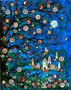 """""""Moonlight Summer Village"""" folk art print by Vadal"""