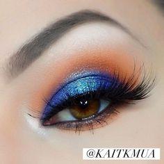 Jaclyn Hill X Morphe Palette for this blue and orange eye look! Instagram.com/kaitkmua