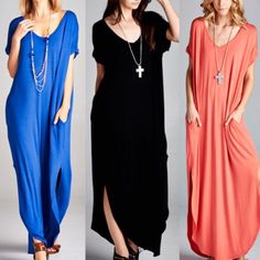 ✨Arriving Soon✨ This  maxi dress has a loose fit, pockets and slits on the sides. This dress is super comfy and a great addition to your spring and summer wardrobe. Sizes: S M L. leave comment with your size to purchase.  comment below if you want to be notified when does item arrives. Black and Royal Blue arrives in 1-2 weeks Dresses Maxi