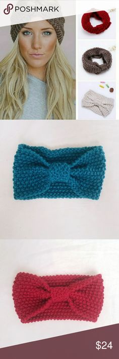 Wool Knitted & Knotted Headbands Red and Teal Wool Knitted & Knotted Headbands Accessories