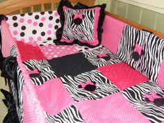 Pink N Black Zebra Minnie Mouse Personalized 5 Pc Baby Crib Toddler Bedding Set Custom Made for YOU on Etsy, $599.99
