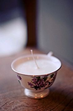 Teacup Candle- Easy- Use melt-and-pour wax, wicks, and essential oils. Oh-so-cute & girlie!