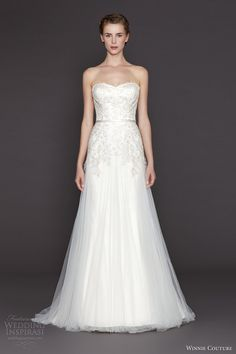 winnie couture bridal fall 2015 holland strapless wedding dress silver embroidery bodice