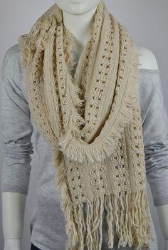 BUY 1 & GET 1 FREE  Cream Knitted Scarf  Wool Scarf by LIFEPARTNER, $17.40