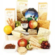 The Eden Cheese Crate. A super cheese hamper selection of fine savoury biscuits and crackers with some delicious, award winning Somerset cheeses including a generous wedge of Bakers Mature Cheddar Cheese made by our neighbours at Leaze Farm here in Haselbury Plucknett. Presented with a compliment of fresh fruit and our own tangy Red Onion Marmalade. Cheese Hampers, Savoury Biscuits, Flowers Delivered, Gift Hampers, How To Make Cheese, Marmalade, Fine Wine, Somerset, Cheddar Cheese