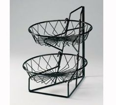 Cal-Mil 1292-2 2-Tier Display Rack w/ 12-in Round Wire Baskets, Black Wire, Each $61.84