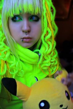 astron0miia yellow hair dye dread falls dreadfalls makeup piercings cute girl cyberpop cyber cybergoth cyberpunk pikachu