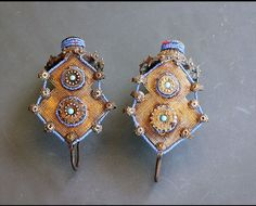 Gilded Silver and blue Glass Ear Pendants from the Islamic people of the Katawaz basin along the border of Afghanistan/Pakistan