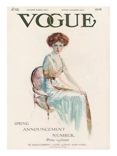 Vogue Cover - February 1909 Poster Print by Jean Parke at the Condé Nast Collection Vogue Vintage, Vintage Vogue Covers, Vintage Ads, Vintage Clothing, Vintage Style, Vintage Jewelry, Vogue Magazine Covers, Fashion Cover, Vintage Magazines