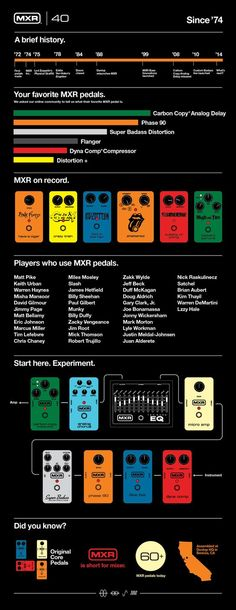 Guitar Pedals - MXR Effects Pedal History Infographic www. Guitar Rig, Music Guitar, Guitar Chords, Cool Guitar, Playing Guitar, Guitar Players, Bass Guitars, Guitar Effects Pedals, Guitar Pedals