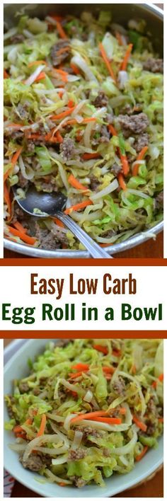 This scrumptious Easy Low Carb Egg Roll in a Bowl combines all the goodies of pork egg rolls without the carbs from the egg roll skin or the deep frying.You will be surprised at how awesome this tastes and how unbelievably simple this is. Egg Roll Recipes, Low Carb Recipes, Cooking Recipes, Healthy Recipes, Pork Recipes, Pork Egg Rolls, Chicken Egg Rolls, Cabbage And Sausage, Sausage And Egg