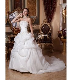 Elegant White Satin Organza Strapless Ball Gown Wedding Dress $130.00