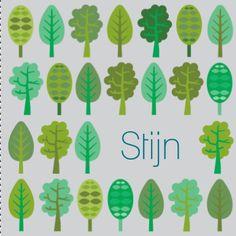 Een fris geboortekaartje voor een zoon met allemaal verschillende boompjes op de voorkant