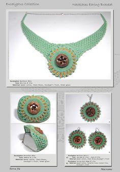 Eucalypto Nacklace, Bracelet & Earing; Terra Fu Macrame; Mela