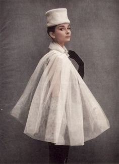 audrey hepburn in a stylish organza cape. S)
