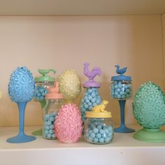 Easter candy buffet with flower eggs