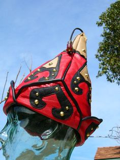 Red/ Black Leather Studded Mongol Hat. $99.99, via Etsy.