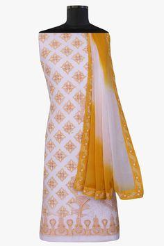 Ada #handembroidered #white  #cotton #lucknowi  Chikankari Unstitched Suit Piece - A64422