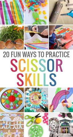 20 fun ways to practice scissor skills! Great for developing fine motor skills More 20 fun ways to practice scissor skills! Great for developing fine motor skills Motor Skills Activities, Toddler Activities, Learning Activities, Physical Activities, Therapy Activities, Cutting Activities For Kids, Preschool Cutting Practice, Teaching Resources, Summer Preschool Activities