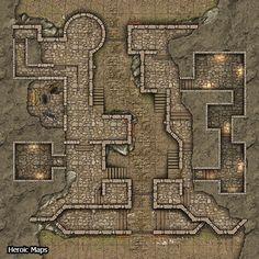 Heroic Maps - Fort Wyvernskill - Heroic Maps | Buildings | Caverns & Tunnels | Wilderness | Roads | Castles | Winter | DriveThruRPG.com