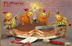Vintage Halloween Postcard - Veggie people cutting cake, ca. early 1900's