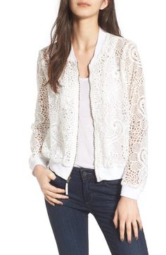 Bomber Jacket Outfit, Bomber Coat, Bomber Jackets, Nordstrom Jackets, Outfits Mujer, Lace Jacket, Jackets For Women, Clothes For Women, Ella Moss