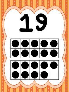 Number Flashcards, Flashcards For Kids, Ten Frame Activities, Preschool Calendar, Free Printable Numbers, Kindergarten Anchor Charts, Classroom Charts, 1st Grade Math Worksheets, Alphabet Phonics
