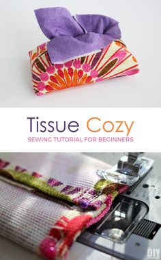 Tissue Cozy sewing tutorial for beginners like me! Let's learn how to sew together! This is a great sewing project for beginners! P.S. This makes a great DIY gift too!