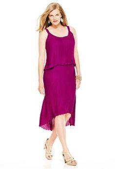 $19 Avenue Plus Size Pleated Tier Hi Low Dress, Cherry 26From Avenue $19